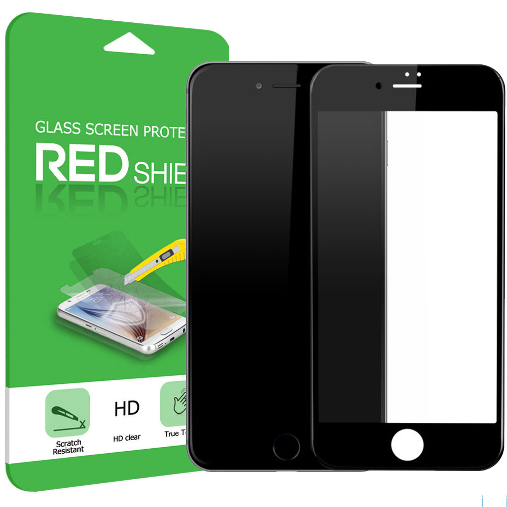 Made for Apple iPhone 7 (4.7 inch) Screen Protector, [Tempered Glass] 4D Curved Tempered Glass Screen Protector, Covers Edge to Edge [Black] by Redshield