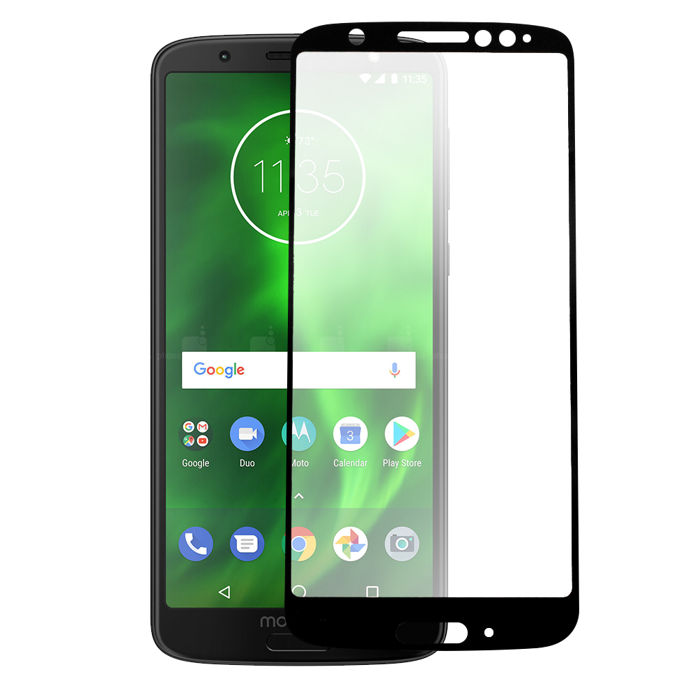 RED SHIELD Motorola Moto G6 (2018) Tempered Glass Screen Protector, Black Edge Impact-Resistant Protective Screen