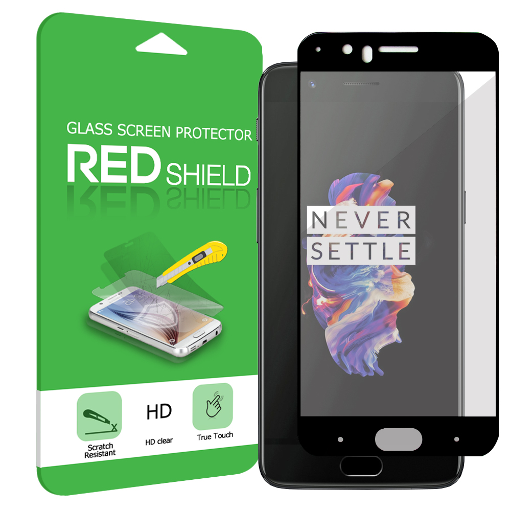 OnePlus 5 Screen Protector, [Tempered Glass] Premium Tempered Glass Screen Protector [Black]