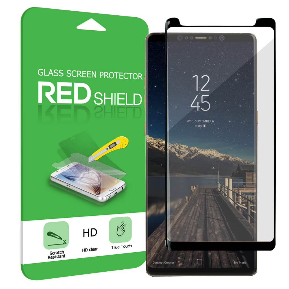[REDshield] Samsung Galaxy Note 8 Screen Protector, [Tempered Glass] 3D Curved Tempered Glass Screen Protector, Covers Edge to Edge [Black]