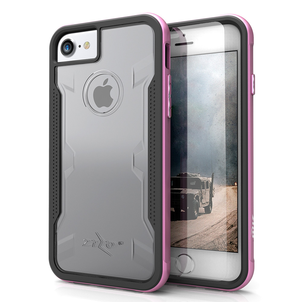 Apple iPhone 8/7/6S/6 Case, SHOCK Series Aluminum Metal Bumper [Crystal Clear] Hybrid Case w/ Reinforced Edges [Pink]
