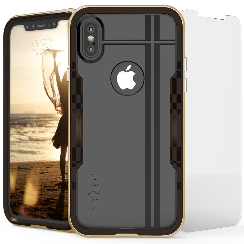 Apple iPhone X Hybrid Case, [Shock 2.0 Series] PC Metallic Bumper [Clear Back] Hard Case w/ Case Friendly Tempered Glass Screen Protector [Gold/ Brown]
