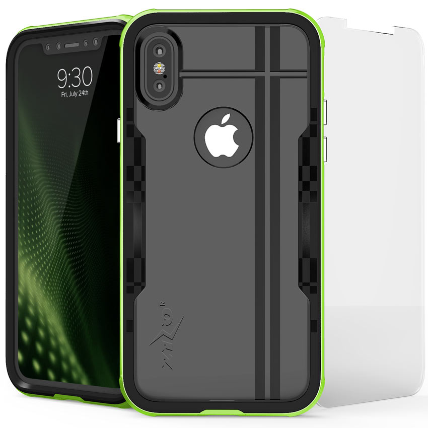 Apple iPhone X Hybrid Case, [Shock 2.0 Series] PC Metallic Bumper [Clear Back] Hard Case w/ Case Friendly Tempered Glass Screen Protector [Neon Green/ Black]