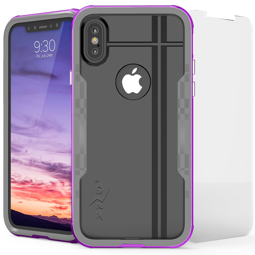 Apple iPhone X Hybrid Case, [Shock 2.0 Series] PC Metallic Bumper [Clear Back] Hard Case w/ Case Friendly Tempered Glass Screen Protector [Purple/ Gray]