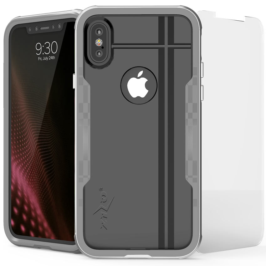 Made for [Apple iPhone X / XS 2018] Hybrid Case, [Shock 2.0 Series] PC Metallic Bumper [Clear Back] Hard Case w/ Case Friendly Tempered Glass Screen Protector [Silver/ Gray]