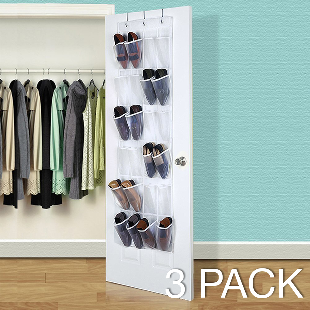 Eutuxia Over the Door 24 Pocket Shoe Organizer Hanging Rack with 3 Steel Door Hooks. Breathable Mesh Back with Transparent PVC Pockets. For Closet, Kitchen, or Organizing Your Room. Space Saver. [3PK]