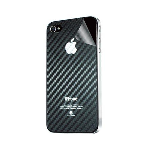 Original Hornettek AT&T/ Verizon Apple iPhone 4, iPhone 4S Scratch-Resistant Protective Skin w/ Screen Protector - Black Carbon Fiber Texture