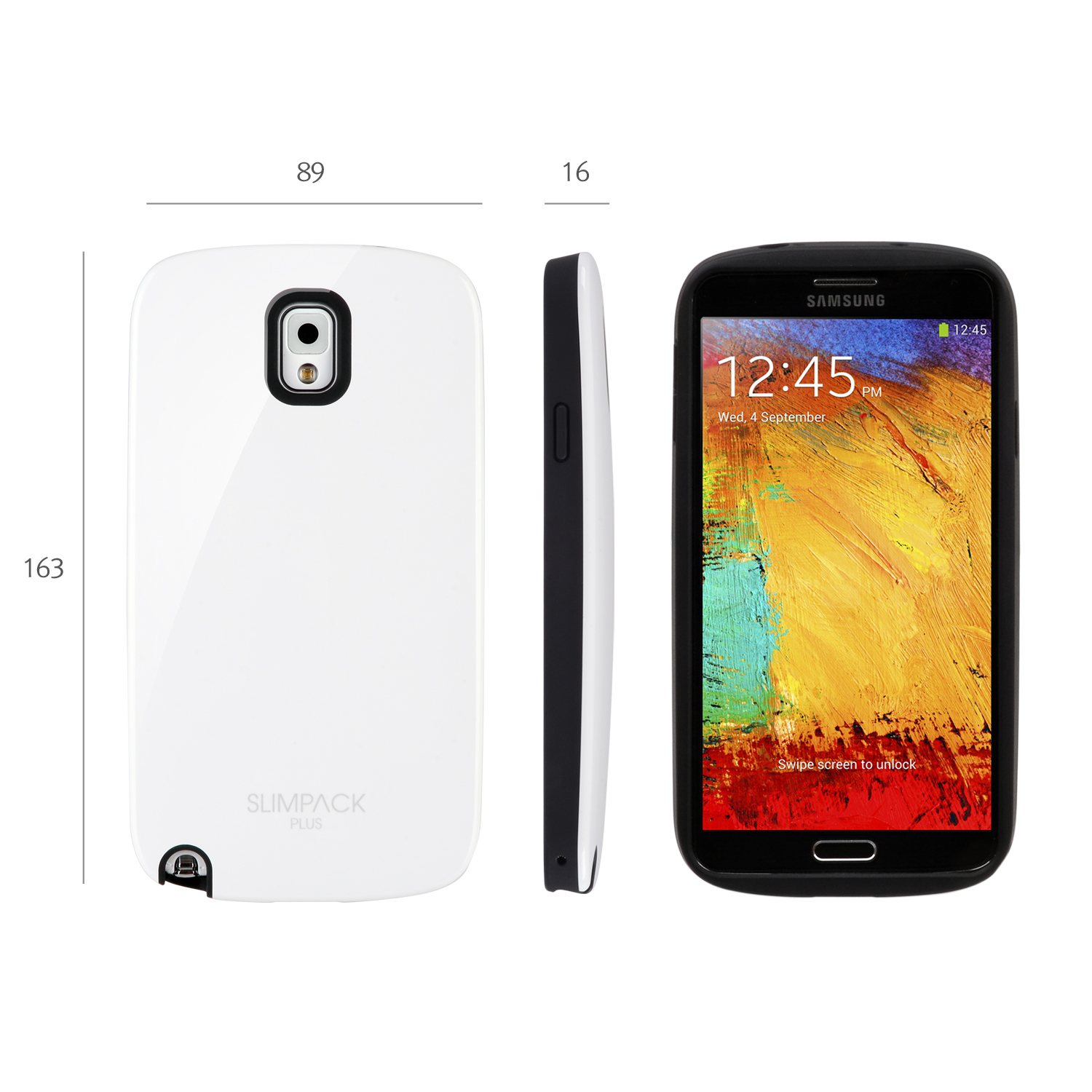 White AccessoryGeeks SlimTough Dual Layer Hard Cover on Silicone Shell w/ Hidden Card Slot for Samsung Galaxy Note 3