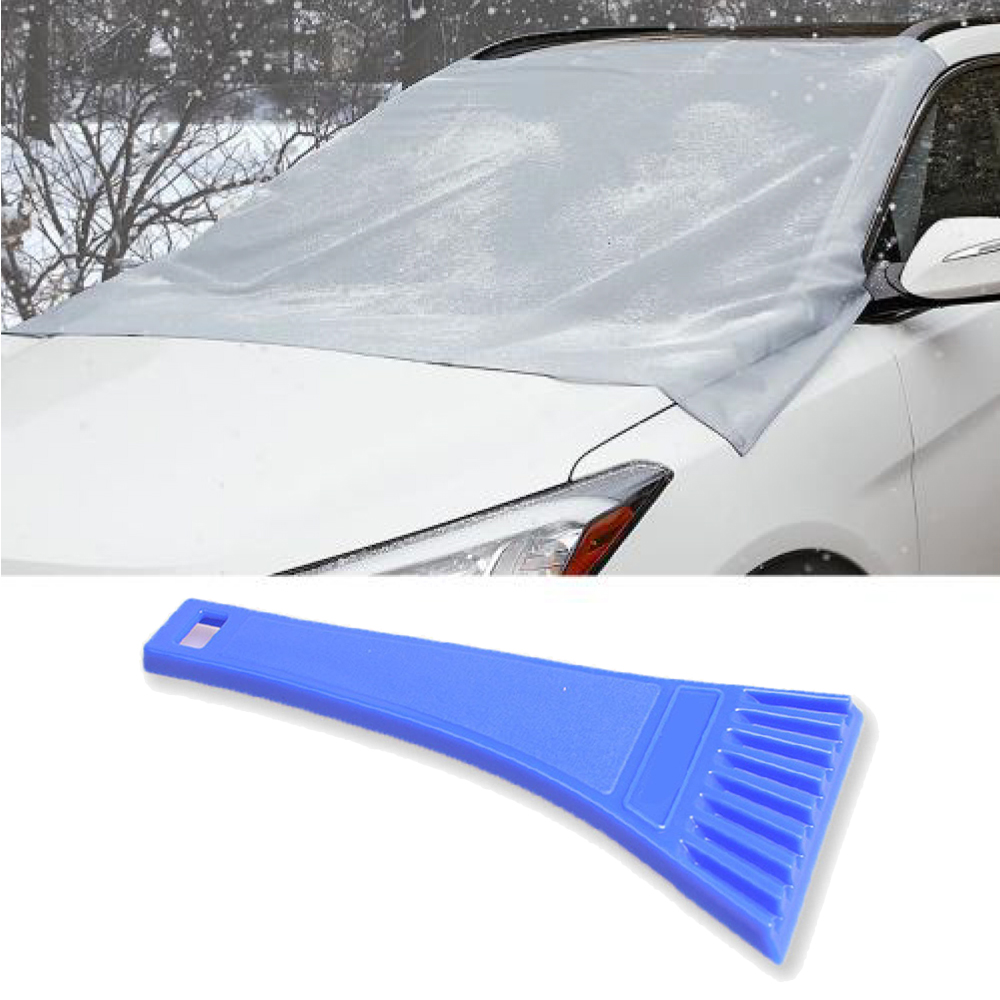 Car Snow Bundle, Magnetic Windshield Snow Cover w/ Storage Pouch & Mini Ice Scraper, Durable Chisel For Scraping Frost & Ice From Car & Truck Windows & Windshields