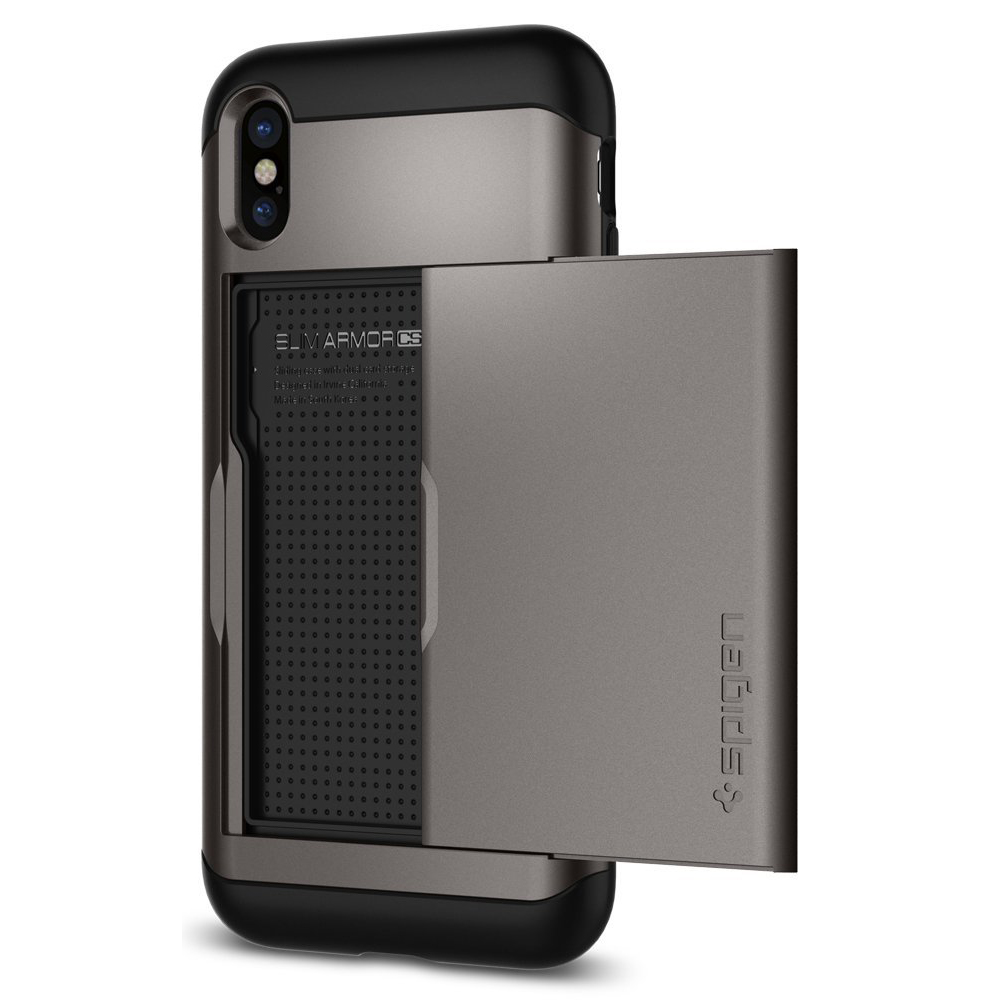 [Spigen] Slim Armor CS Case, [Gunmetal] Apple iPhone X Hybird Case W/ Slim Dual Layer Wallet Design & Card Slot Holder