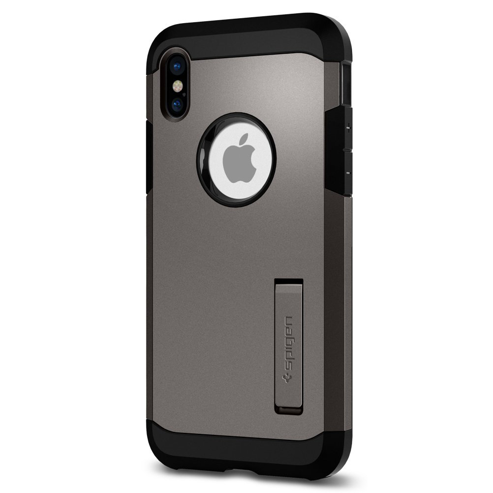 [Spigen] Tough Armor Case, [Gunmetal] Apple iPhone X Hybrid Case W/ Kickstand, Extreme Heavy Duty Protection, & Air Cushion Technology