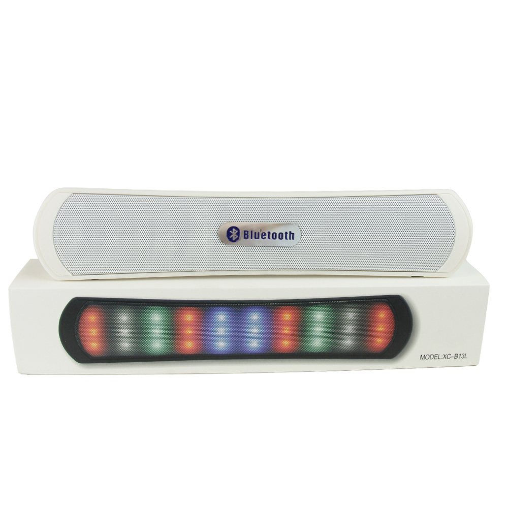 Portable Bluetooth Bar Speaker w/ Memory Card Slot & LED Lights [White]