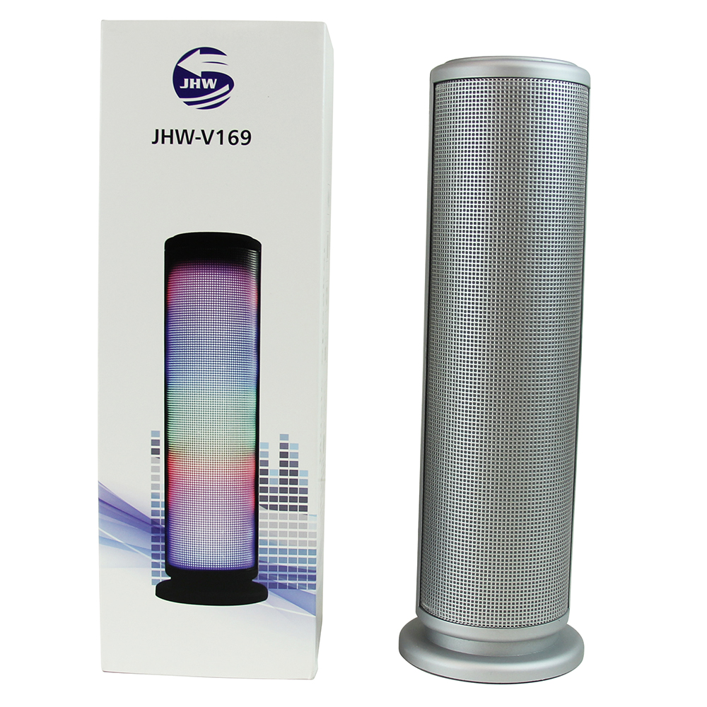 CycloneSound SPARK Portable Bluetooth Tower Speaker w/ Memory Card Slot & LED Lights [Silver]