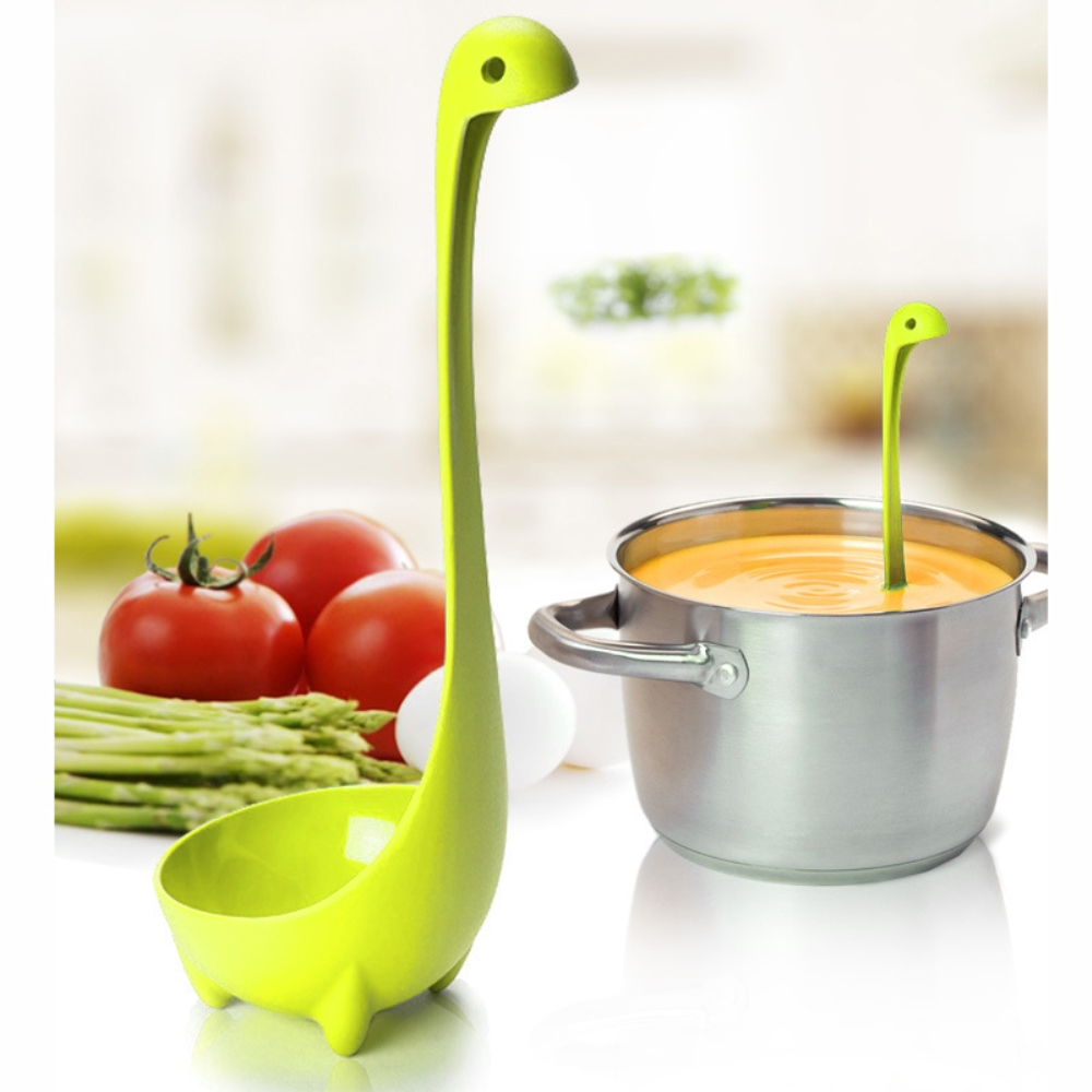 Eutuxia Nessie Soup Ladle, Loch Ness Monster Spoon Stands Upright. Food Grade Nylon, Dishwasher Safe Kitchen Utensil. Cute, Unique Cooking Tool. Great for Parties and Daily Household Use. [Lime Green]