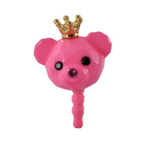 Pink Bear w/ Crown 3.5mm Headphone Jack Stopple Charm