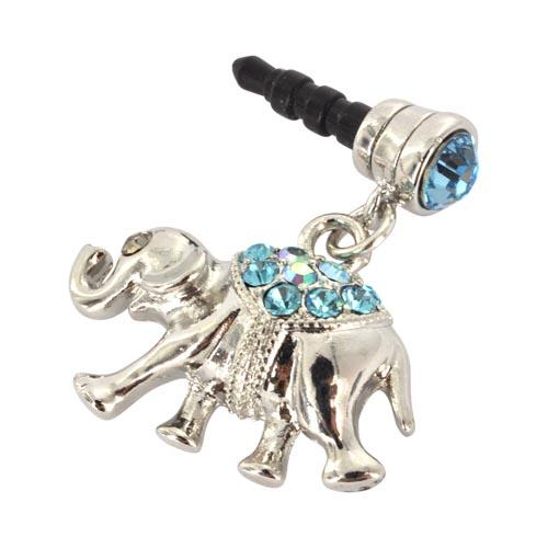 3.5mm Headphone Jack Stopple Charm - Silver Elephant w/ Baby Blue Gems