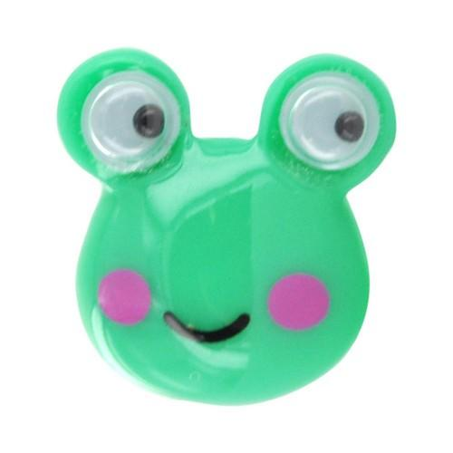 3.5mm Headphone Jack Stopple Charm - Green Frog w/ Googly Eyes