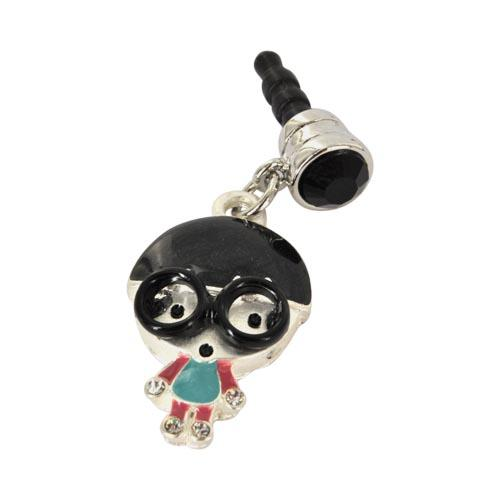 3.5mm Headphone Jack Stopple Charm - Geek Boy w/ Black Glasses and Silver Gems