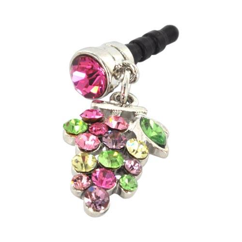 3.5mm Headphone Jack Stopple Charm - Grape w/ Multi-Colored Gems