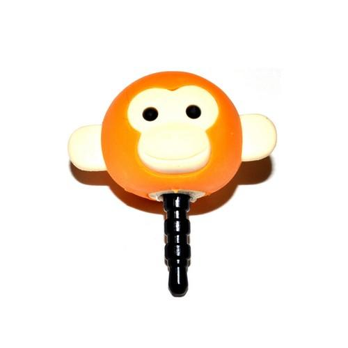3.5mm Headphone Jack Stopple Charm - Dark Orange/ Yellow  Monkey