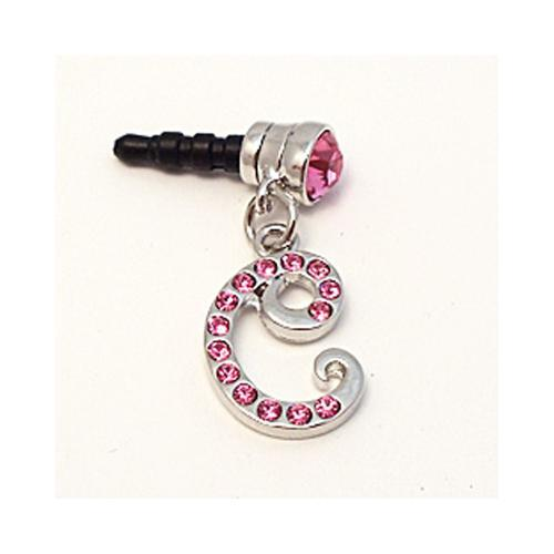 "Silver Initial ""C"" w/ Pink Gems 3.5mm Headphone Jack Stopple Charm"