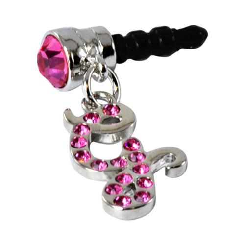 "Silver Initial ""G"" w/ Pink Gems 3.5mm Headphone Jack Stopple Charm"