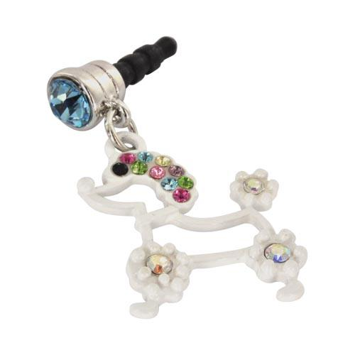 3.5mm Headphone Jack Stopple Charm - White Poodle w/ Multi-Colored Gems