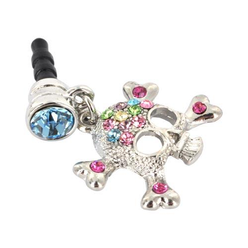 3.5mm Headphone Jack Stopple Charm - Silver Skull w/ Multi-Colored Gems