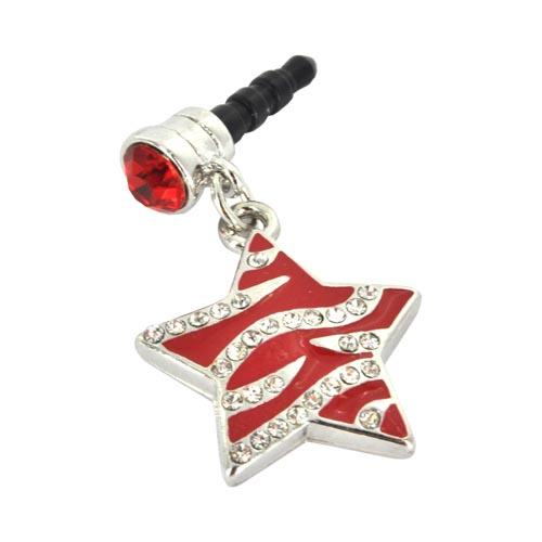 3.5mm Headphone Jack Stopple Charm - Red Star w/ Silver Gems