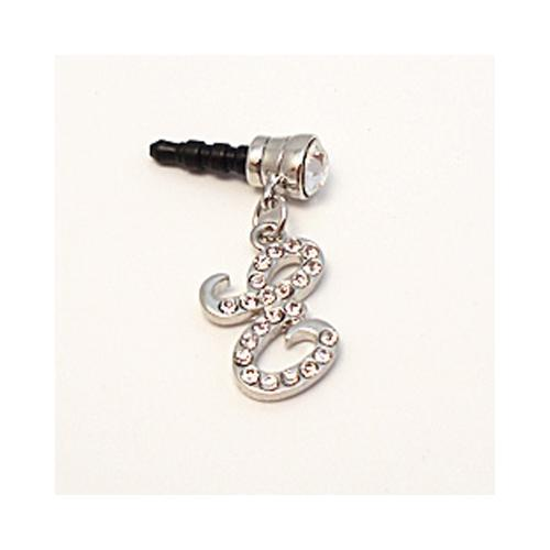 "Silver Initial ""E"" w/ Silver Gems 3.5mm Headphone Jack Stopple Charm"