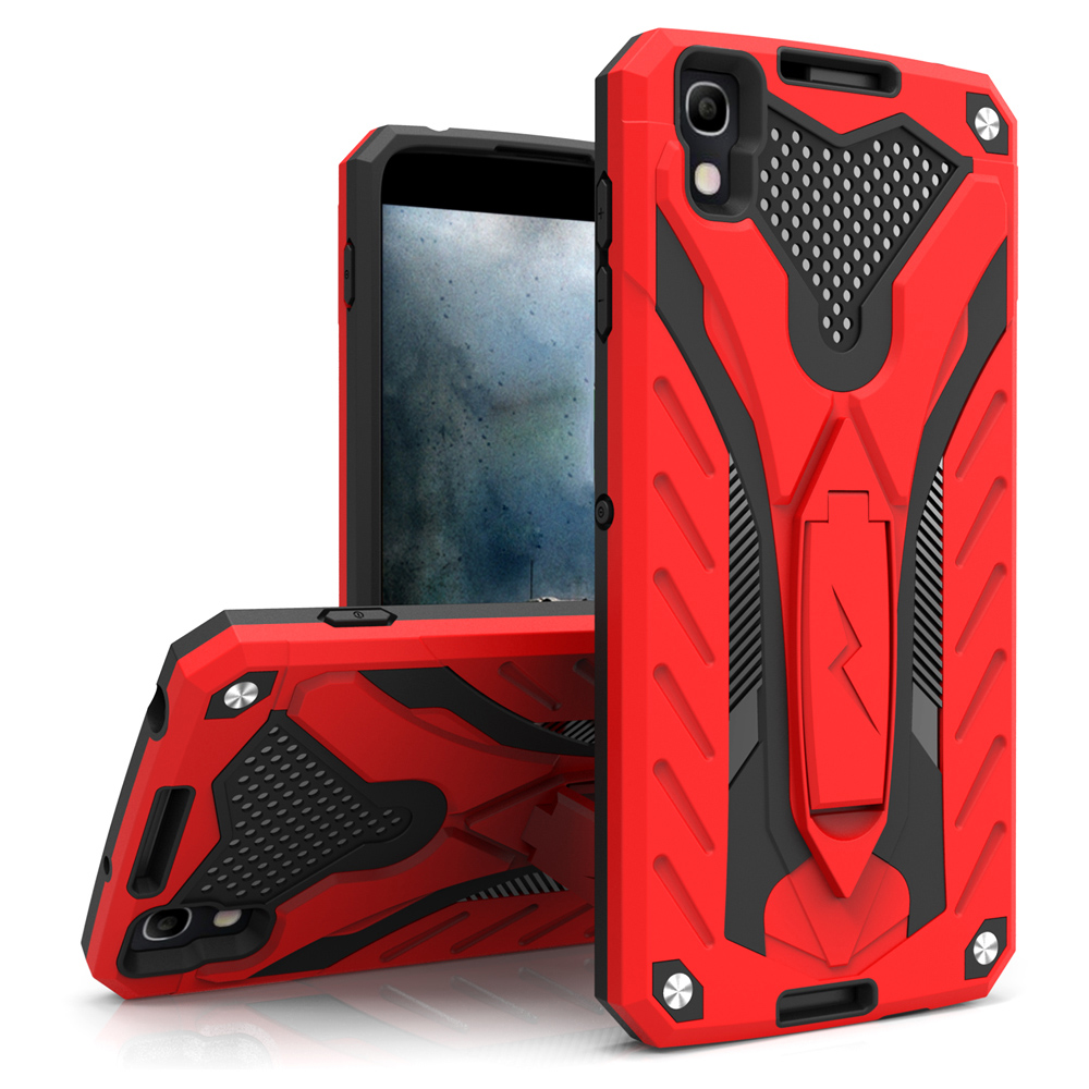 Alcatel Idol 4 Case, STATIC Dual Layer Hard Case TPU Hybrid [Military Grade] w/ Kickstand & Shock Absorption [Red/ Black]
