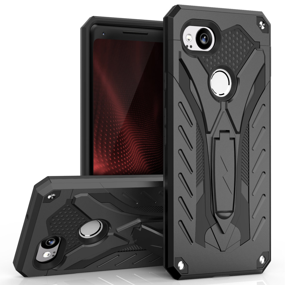 Google Pixel 2 Case, STATIC Dual Layer Hard Case TPU Hybrid [Military Grade] w/ Kickstand & Shock Absorption [Black]