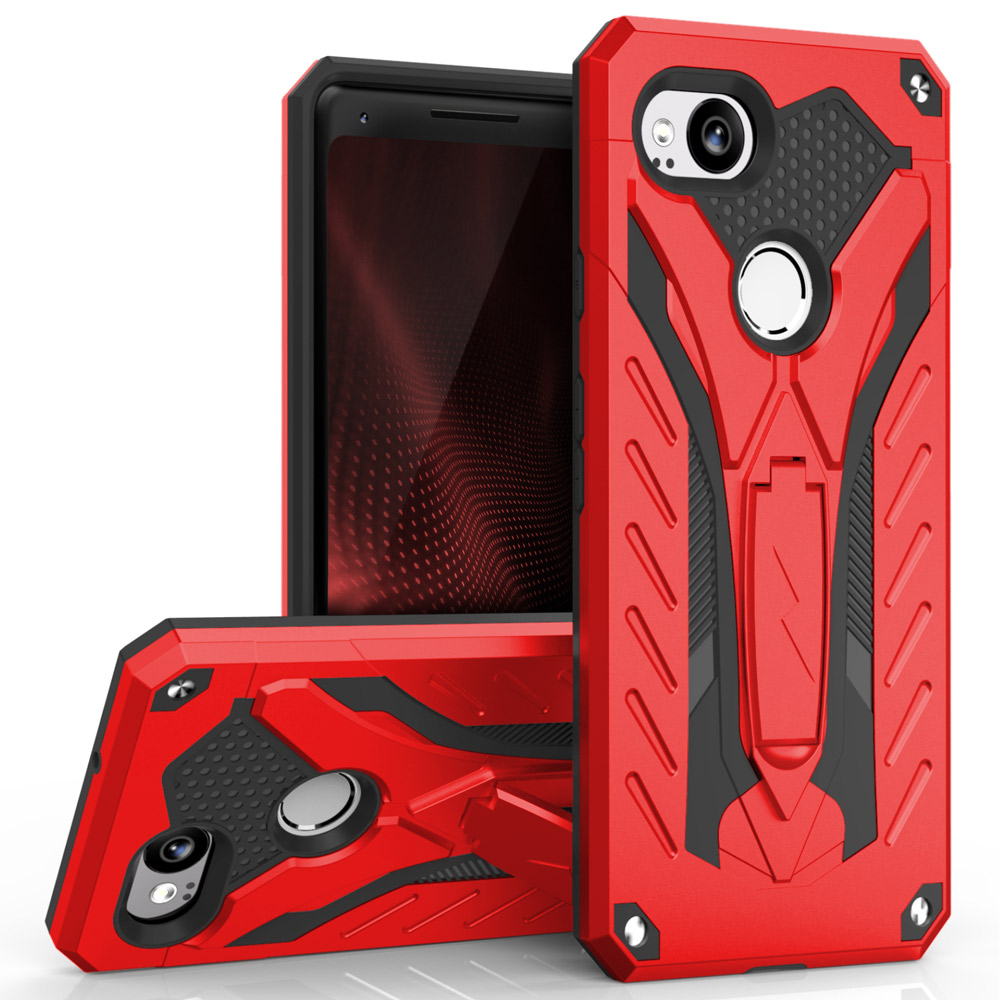 Google Pixel 2 Case, STATIC Dual Layer Hard Case TPU Hybrid [Military Grade] w/ Kickstand & Shock Absorption [Red/ Black]