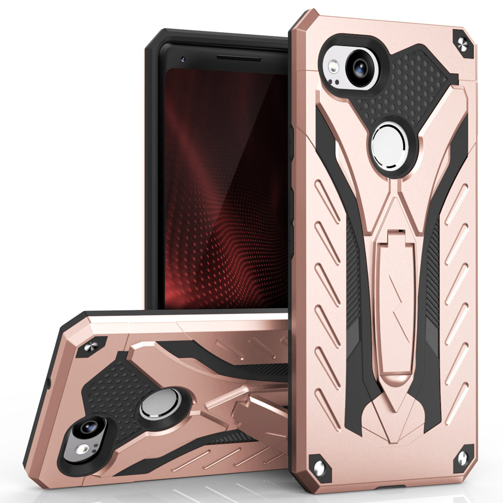 Google Pixel 2 Case, STATIC Dual Layer Hard Case TPU Hybrid [Military Grade] w/ Kickstand & Shock Absorption [Rose Gold/ Black]