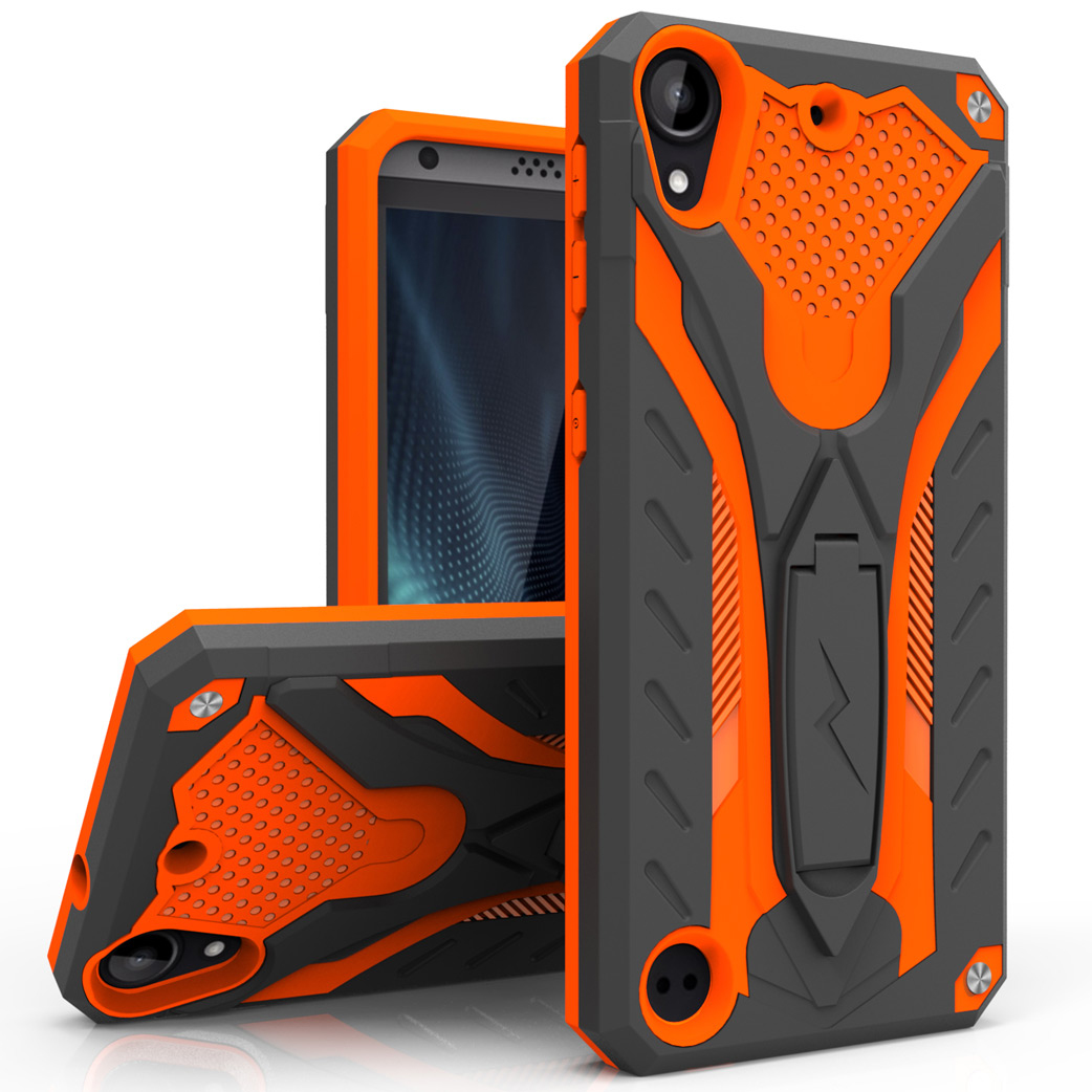 HTC Desire 530 Case, STATIC Dual Layer Hard Case TPU Hybrid [Military Grade] w/ Kickstand & Shock Absorption [Orange/ Black]