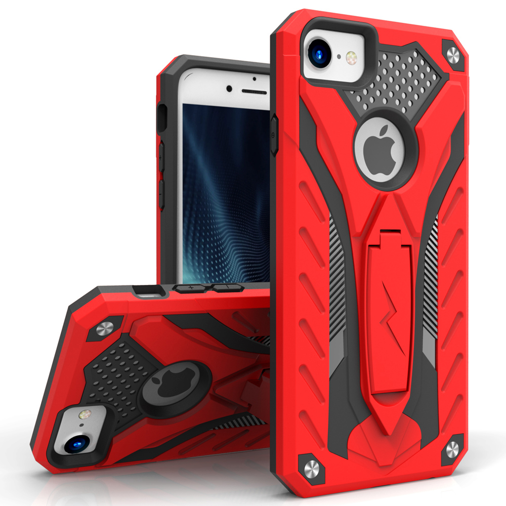 Apple iPhone 8/7/6S/6 Case, STATIC Dual Layer Hard Case TPU Hybrid [Military Grade] w/ Kickstand & Shock Absorption [Red/ Black]