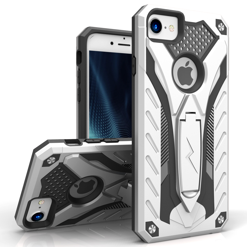 Apple iPhone 8/7/6S/6 Case, STATIC Dual Layer Hard Case TPU Hybrid [Military Grade] w/ Kickstand & Shock Absorption [Silver/ Black]