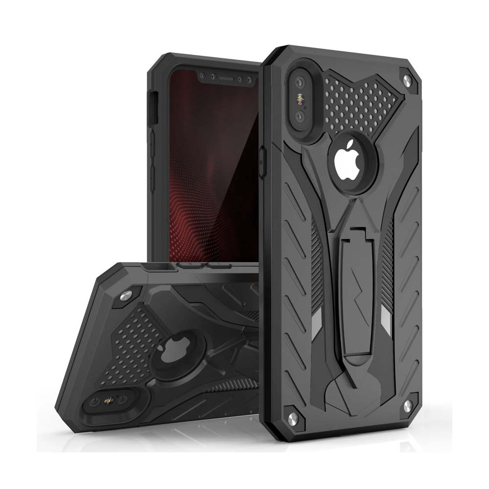 Apple iPhone X Case, STATIC Dual Layer Hard Case TPU Hybrid [Military Grade] w/ Kickstand & Shock Absorption [Black]
