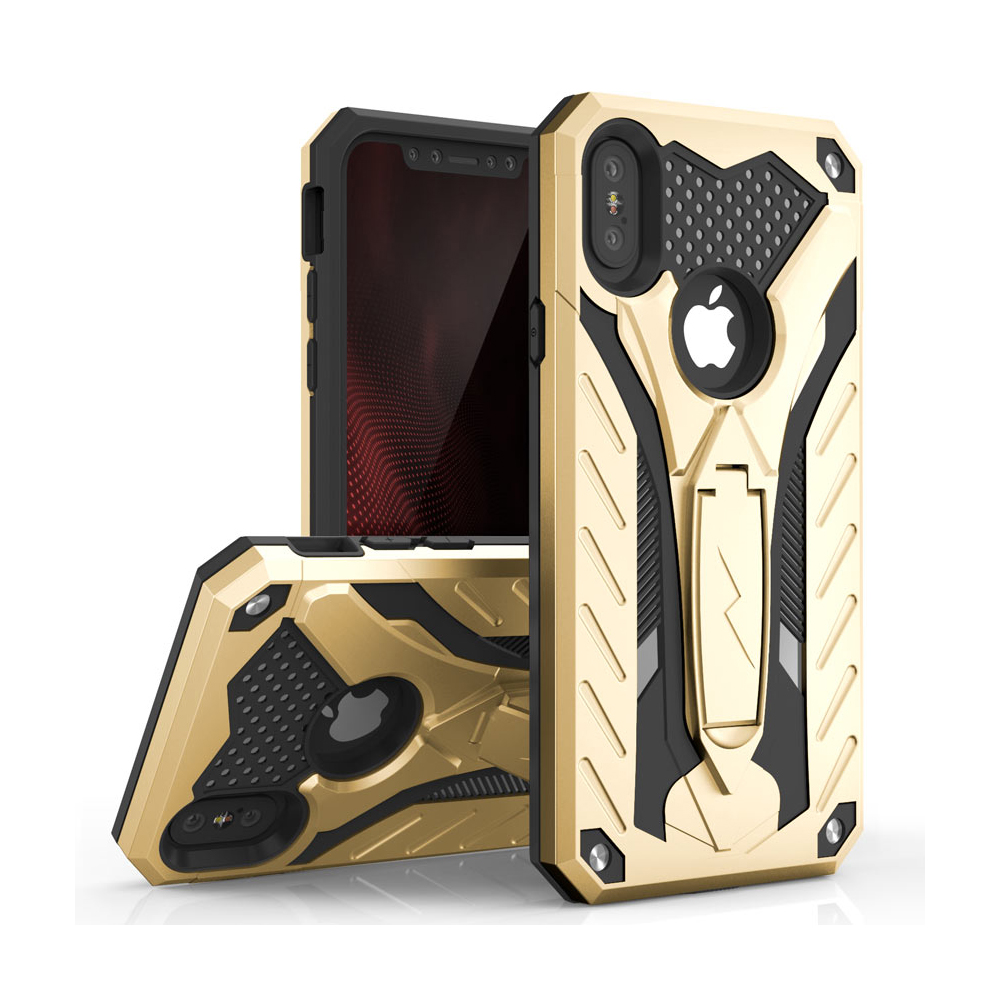 Apple iPhone X Case, STATIC Dual Layer Hard Case TPU Hybrid [Military Grade] w/ Kickstand & Shock Absorption [Gold/ Black]