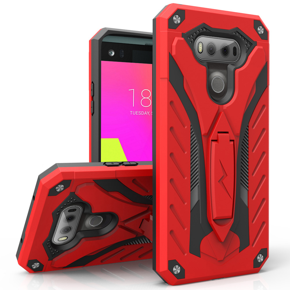 LG V20 Case, STATIC Dual Layer Hard Case TPU Hybrid [Military Grade] w/ Kickstand & Shock Absorption [Red/ Black]