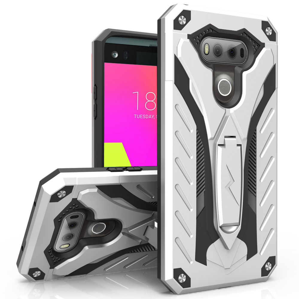 LG V20 Case, STATIC Dual Layer Hard Case TPU Hybrid [Military Grade] w/ Kickstand & Shock Absorption [Silver/ Black]