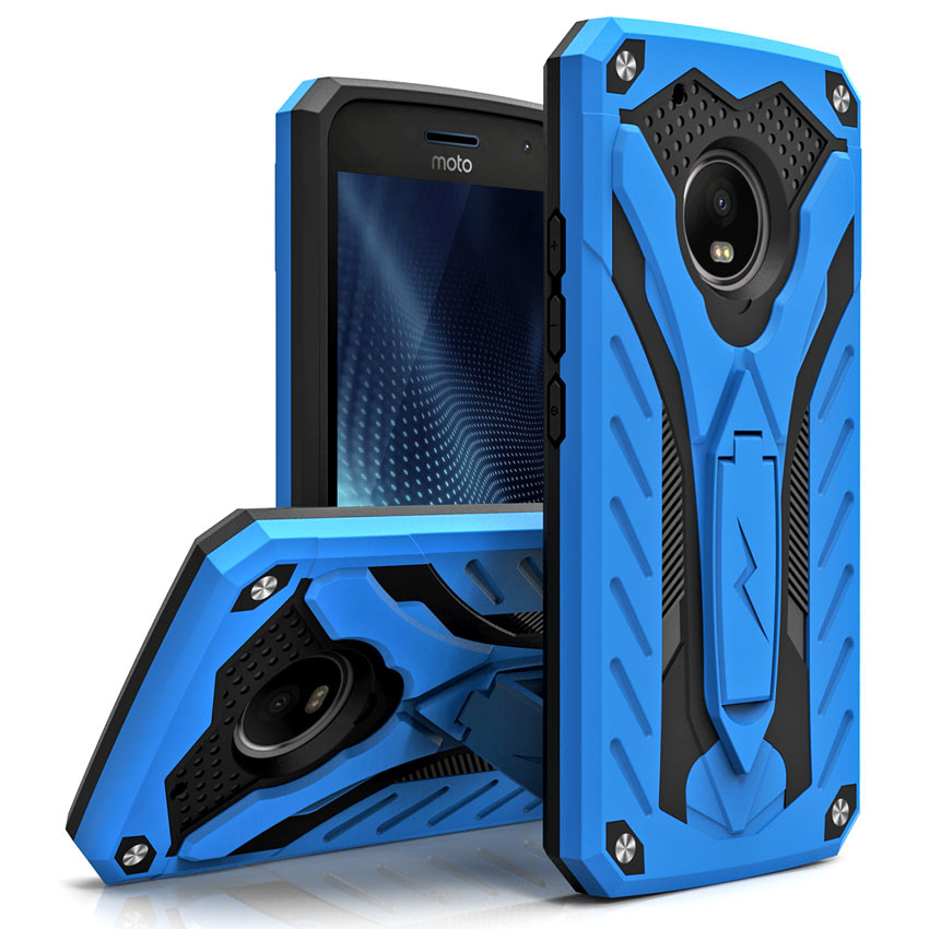 Motorola Moto G5 Plus Case, [STATIC] Dual Layer Hard Case TPU Hybrid [Military Grade] w/ Kickstand & Shock Absorption [Blue/ Black]