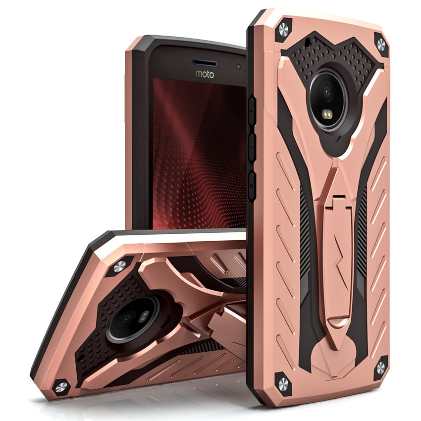 Motorola Moto G5 Plus Case, [STATIC] Dual Layer Hard Case TPU Hybrid [Military Grade] w/ Kickstand & Shock Absorption [Rose Gold/ Black]