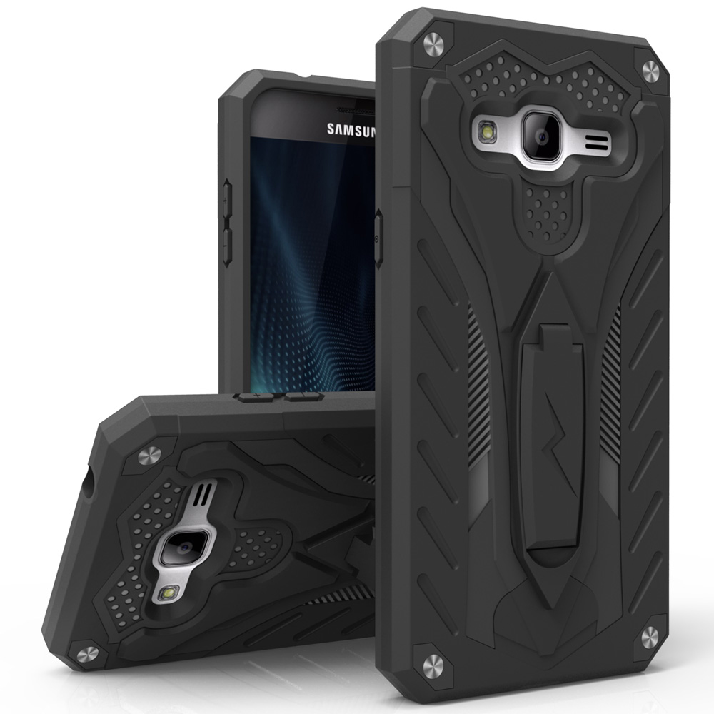 Samsung Galaxy On5 Case, STATIC Dual Layer Hard Case TPU Hybrid [Military Grade] w/ Kickstand & Shock Absorption [Black]