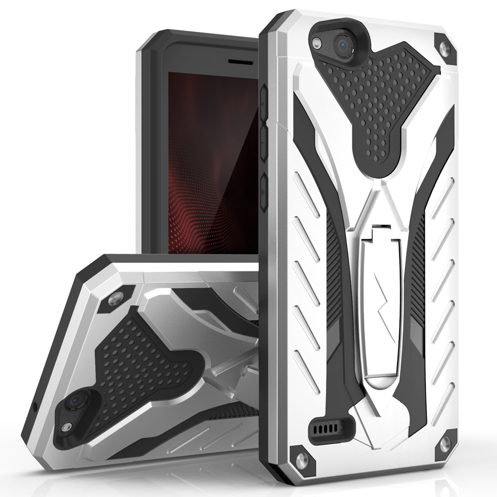 ZTE Tempo X/ Avid 4 Case, [STATIC] Dual Layer Hard Case TPU Hybrid [Military Grade] w/ Kickstand & Shock Absorption [Silver/ Black]