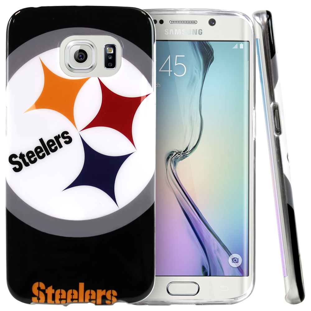 Samsung Galaxy S6 Edge Case, NFL Licensed [Pittsburgh Steelers]  Slim & Flexible Anti-shock Crystal Silicone Protective TPU Gel Skin Case Cover