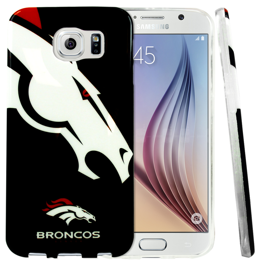 Samsung Galaxy S6 Case, NFL Licensed [Denver Broncos]  Slim & Flexible Anti-shock Crystal Silicone Protective TPU Gel Skin Case Cover