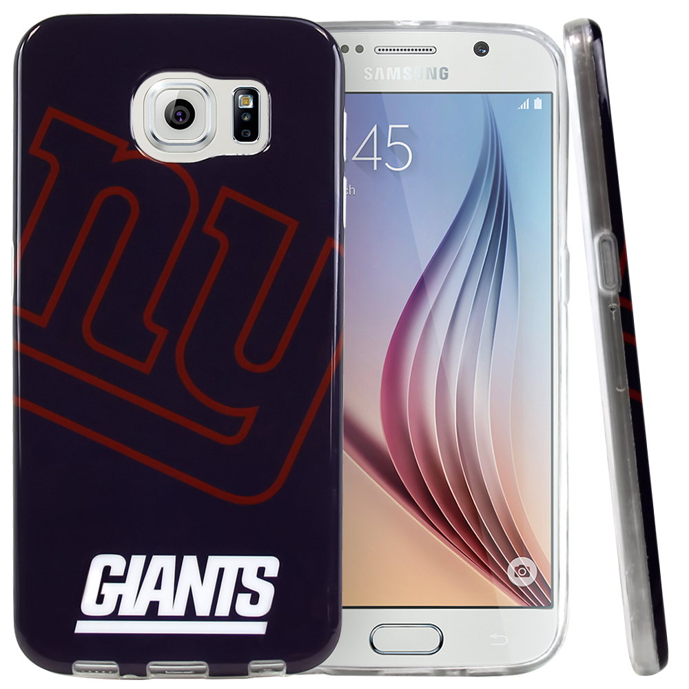 Samsung Galaxy S6 Case, NFL Licensed [New York Giants]  Slim & Flexible Anti-shock Crystal Silicone Protective TPU Gel Skin Case Cover