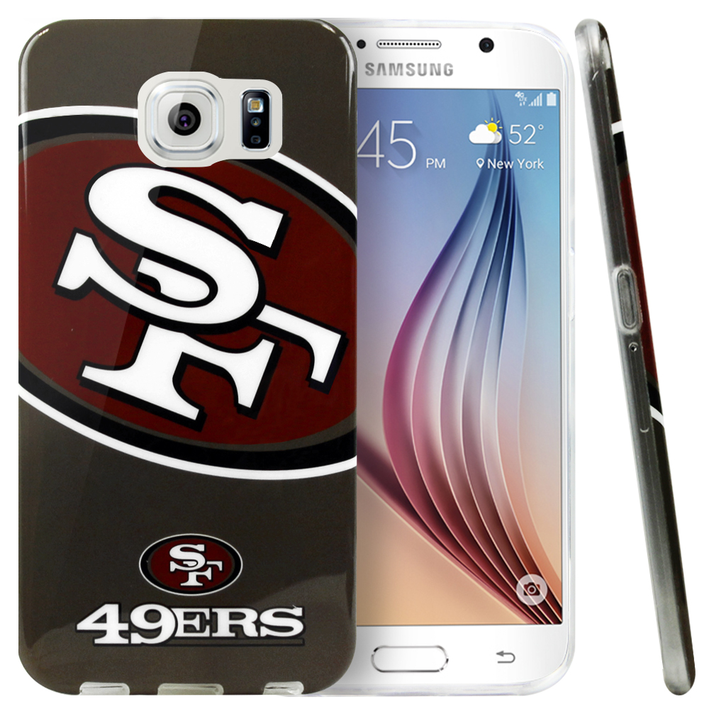 Samsung Galaxy S6 Case, NFL Licensed [San Francisco 49ers]  Slim & Flexible Anti-shock Crystal Silicone Protective TPU Gel Skin Case Cover