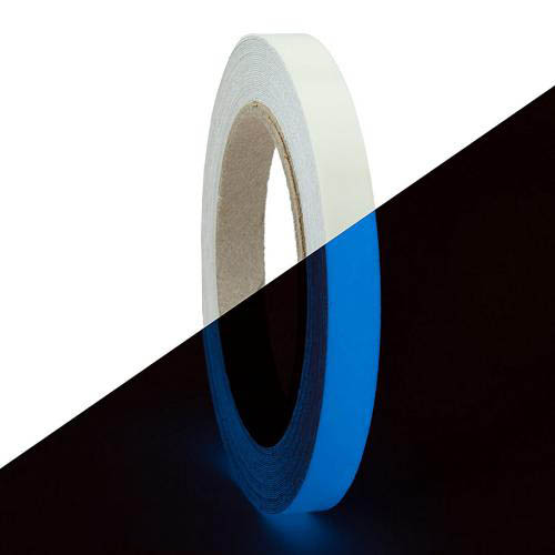 RED SHIELD Glow in the Dark Tape. Luminous, Fluorescent Self-Adhesive Sticker. Removable, Waterproof, Photoluminescent. For Decoration, Illuminating Objects at Night. [41 Feet x 0.625 Inch, Blue]